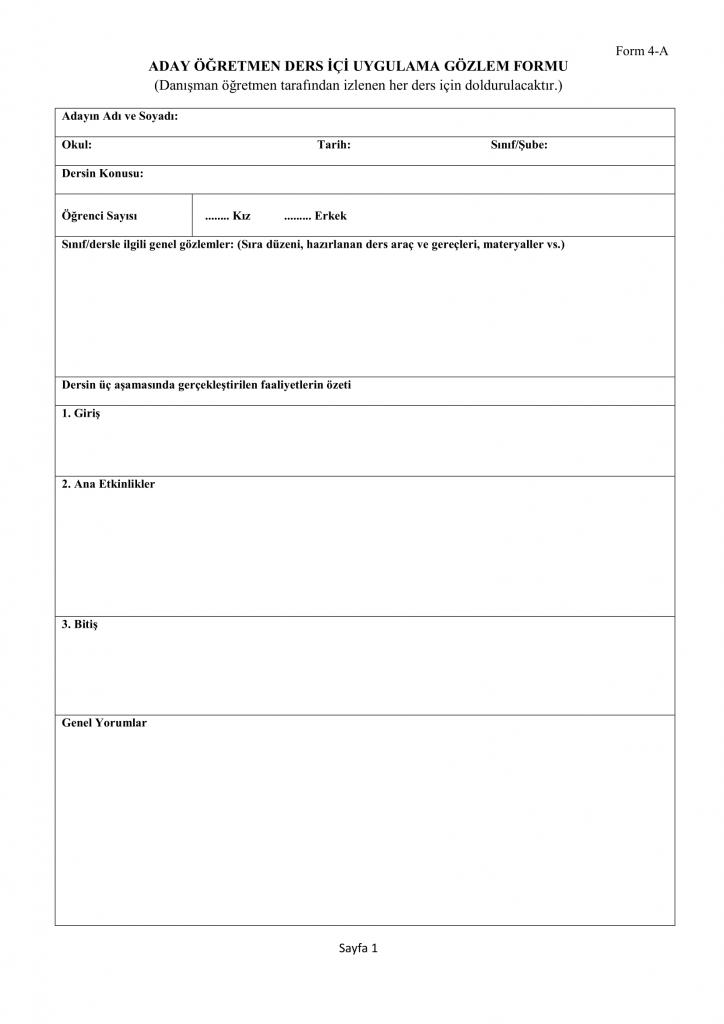 Form 4-A Aday Öğretmen Ders İçi Uygulama Gözlem Formu