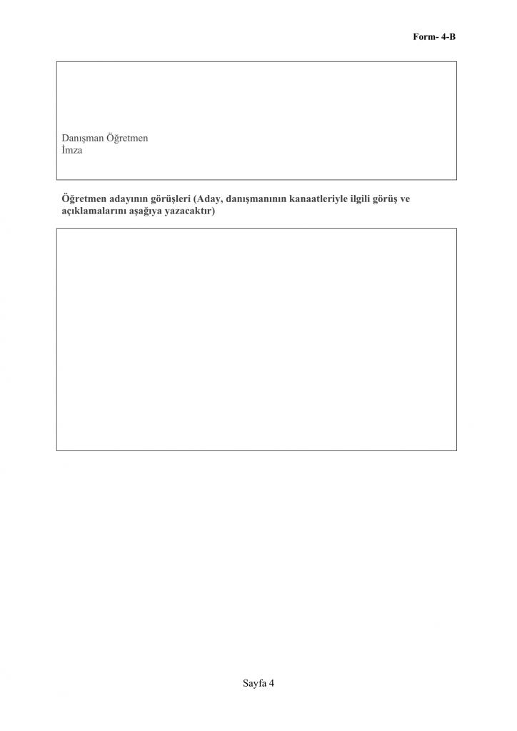 Form 4-B Aday Öğretmen Öğretmenlik Uygulaması Ders İçi Gözlem Genel Değerlendirme Formu